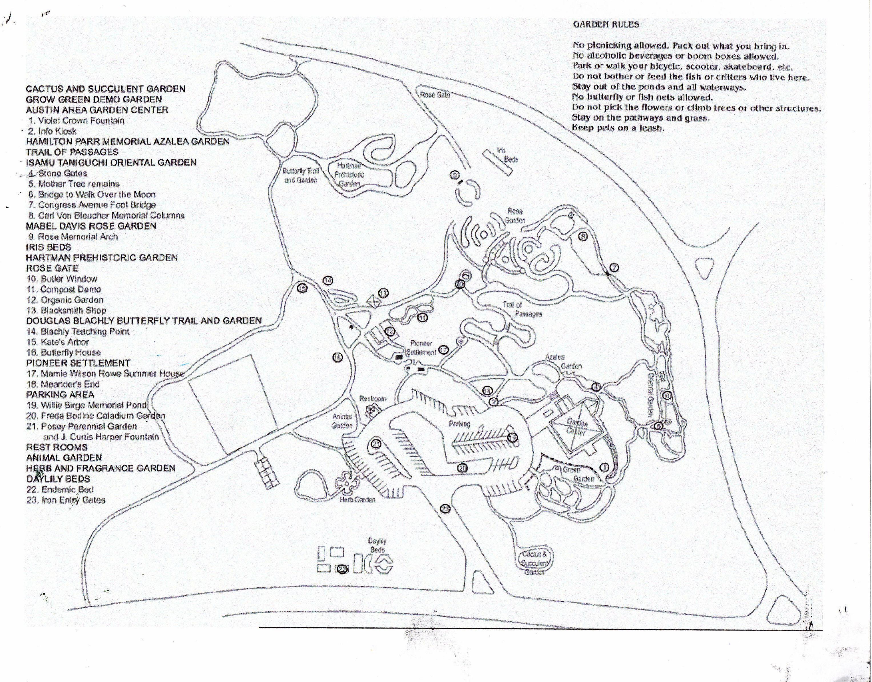 Zilker Gardens Map