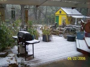 Snow on the deck...