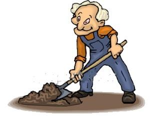 old man digging
