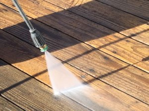 Power washing the deck